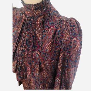 Vintage Silk Paisley Ruffle Puff Shoulder Blouse S